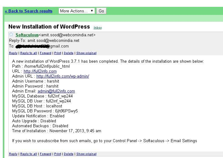 Wordpress Install Email