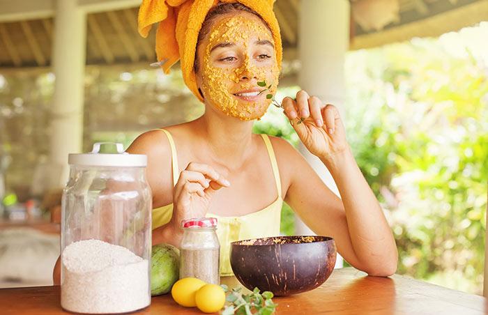 Camomile tea face mask