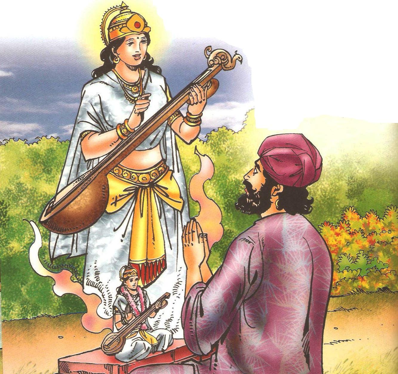 देवी सरस्वती और धन्ना भक्त